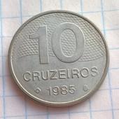Монета Бразилии 10 крузерос 1985