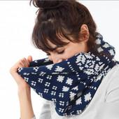 ☘ Теплый вязаный шарф-снуд на флисе, норвежский узор, Tchibo(Германия), размер универсальный