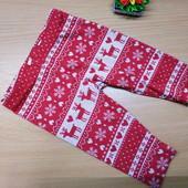 Тепленькие новогодние штанишки для манюни - тонкая вязка. 68 см.