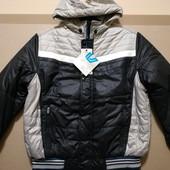 Новая! Дутая с меховой подкладкой! Теплая куртка на 52-54 Черная с серым