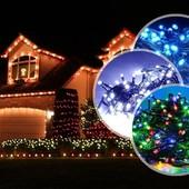 Светодиодная гирлянда LED , 100 диодов,цвет мультик,8 режимов мигания .