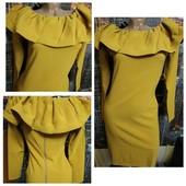 Яркое, эффектное платье с воланом, 42-44