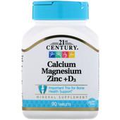 21st Century, Кальций, магний, цинк + D3, 90 таблеток, Америка