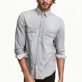 Мужская стильная рубашка с потертостями. H&M