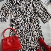 Платье халат / платье леопард / платье миди