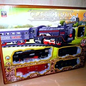 ЖД JHX3306 локомотив 13см, вагон 3шт, свет,ездит, 19предм, на бат-ке, в кор-ке,32,5-32,5-4,5см