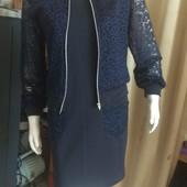 Стильний та вишуканий комплект: плаття+ жакет. Трикотаж+ гіпюр.
