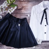Стильная юбка из еко кожи. Чёрная 140