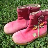 Деми-ботиночки суперового качества! Замш ярко-розового цвета. Стелька 16,5-17см.