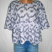 Блузка оверсайз в полоску с вышивкой разм хл Zara