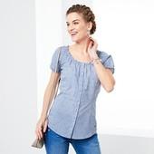 Блуза с коротким рукавом в мелкую клеточку от Tchibo(Германия), размеры наши: 48-50 (42 евро)