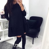 Шикарное платье-трапеция, оверсайз! Размер универсал 42-46, можно на 48! Цвет только черный.