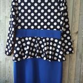 Платье женское синее в горох 52-54
