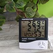 Метеостанция! Термометр(уличный и комнатный), гигрометр с часами, будильником и календарем HTC-2