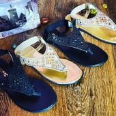 Летние шикарные сандалии золото и черные