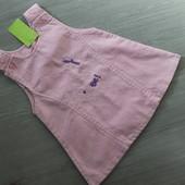 Нежное новое платьице / сарафан с красивыми пуговками и вышивкой, 1-2-3 года