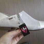 Изящные серебристые туфельки - лак/замша иск. р 39 (25 см)