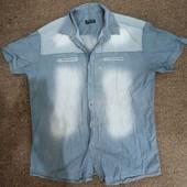 Рубашка мужская молодежная (эффект потертостей) хл