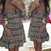 Стильное платье, клетка под Burberry. Р. С-М