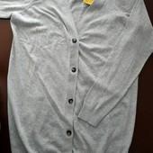 Удлиненная хлопковая кофточка кардиган, размер 152