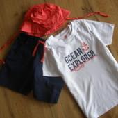 Lupilu комплект футболка+ шорты+панамка мальчику 100% хлопок 2-4 лет рост 98-104 Германия