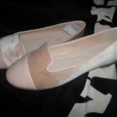 Бежевые бархатные балетки. Испания. 25.5см