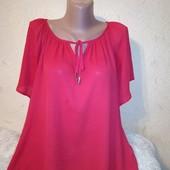 Красная шифоновая блузочка с удлиненной спинкой 12/40 размера.
