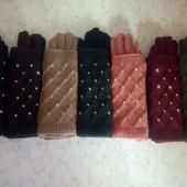 Сенсорные!2 в 1!Женские перчатки вязка(митенка)!