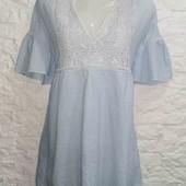 Мега стильное натуральное платье с вышивкой ZARA pp M
