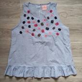 Фирменная красивая коттоновая вышитая блуза р.16-20 состояние новой вещи