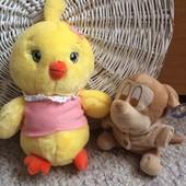 Плюшевый цыпленок 30 см и мышка 17 см как Новые! Одним лотом!