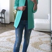 Летний пиджак кардиган кофта голубого мятного цвета xs s m l xl