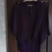 Фирменная новая красивая шифоновая блуза-туника на трикотажном чехле р. 6-10.