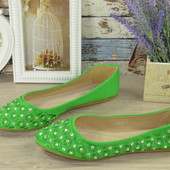 Балетки женские Green Вышивка. Стразы. р.38 (24см)