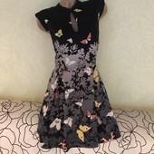 Шикарное лёгкое платье с бабочками на подкладке из плотного шифона Oasis, сток люкс!