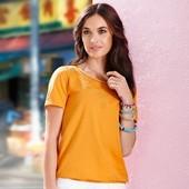 Яркая блуза из хлопка с прошвой и вышевкой Тchibo (Германия), размер 32/34 евро (наш 38/40)