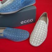 Мокасины Ecco оригинал натур кожа 36 размер (голубые )