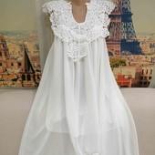 Белоснежное шифоновое платье свободного кроя, размер М - L.