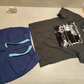 Германия!!! Классный лот из коттоновой футболки с пайетками-перевертышами 86/92 и бермудов 86!