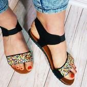 Стильные босоножки/сандалии/шлепанцы с мозаикой на резинке 39 размер