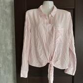 Фирменная красивая рубашка в полоску в отличном состоянии р.16-18