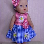 только Одежда ! Комплект 6 :платье и повязка для куклы Беби борн ростом 43 см.Или подобных кукол .