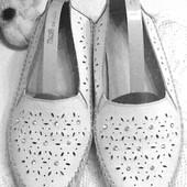 Кожаные беленькие туфельки-балетки со стразами 40 р - 26 см.