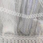 Новинка! Шикарная дорогая турецкая тюль, фатин с вышивкой! Крем. Есть услуга пошива