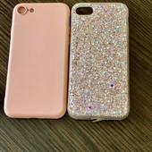 2 чехла iPhone 7/8 розовый Новый и глитерный легкое бу