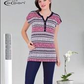 Женский костюм для дома , туника+капри, 46-56р ( маломерит) , 100 % хлопок