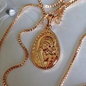 шикарная иконка-ладанка Божья Матерь с младенцем, позолота 585 пробы