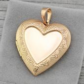 ✔Красивый открывающийся кулон в форме сердца. Xuping, медицинское золото