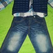 Крутой костюм тройка (рубашка+джинсы+жилетка)