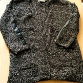 кардіган на вечір з кожаними вставками на карманах і рукавах,розмір 134/140,більшомірить,бренд h@m